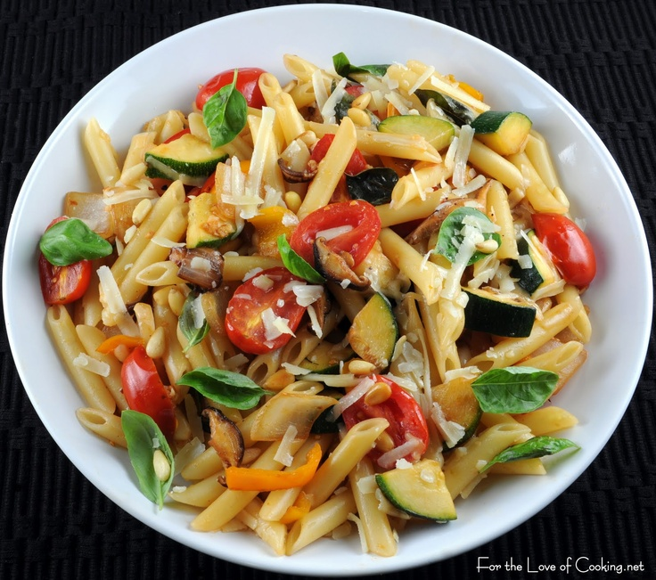 Penne with Mixed Vegetables, Parmesan Cheese, and Pine Nuts: