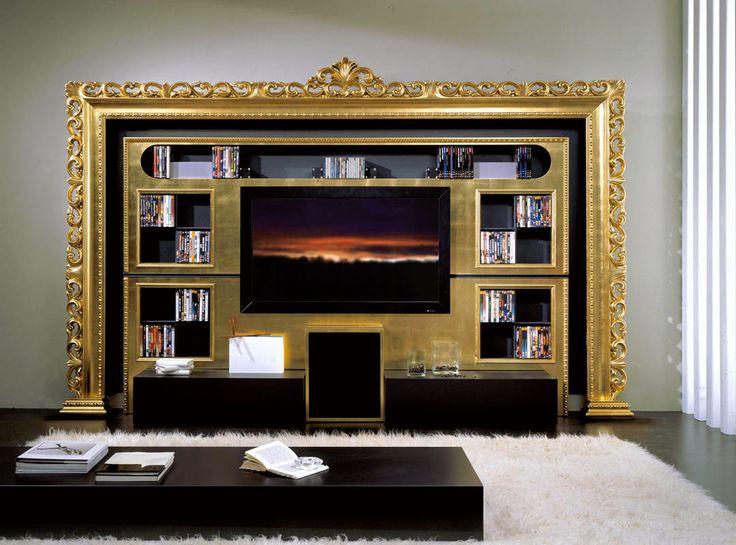 Baroque Tv wall unit in gold foil for enhancing living area and framed your tv #tvwallunit #tvrack #tvstand #gold #design #interiordesign #luxuryfurniture