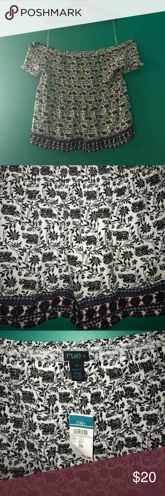 Cute off the  shoulders shirt Rue 21 brand, elephant and flower print with a pop of red and blue on the trim. So cute for concerts. rue 21 plus Tops