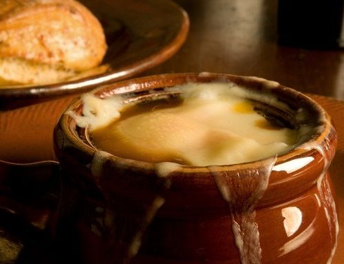 Onion soup baked under a cheese crust