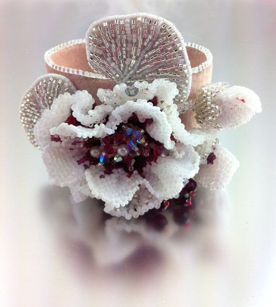 Creme de Cassis Flower - Statement Beaded Bracelet Cuff, Elegant Beaded Bracelet for Women, Corsage Bracelet, White and Purple Jewelry by LuxVivensFashion, $255.00