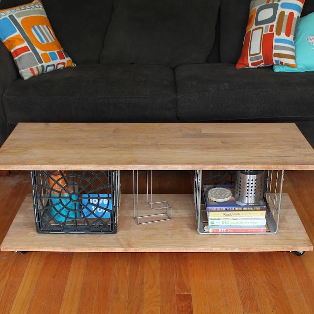 Ideas To Live The DIY Life: Tutorial: Metal Milk Crate Coffee Table