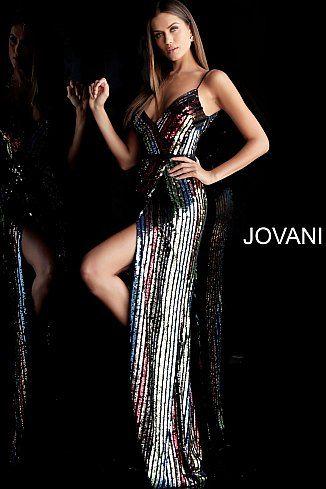 de8b974d244f Multi Color Sequin V Neck Front Slit Prom Dress 63962 | Jovani Prom ...