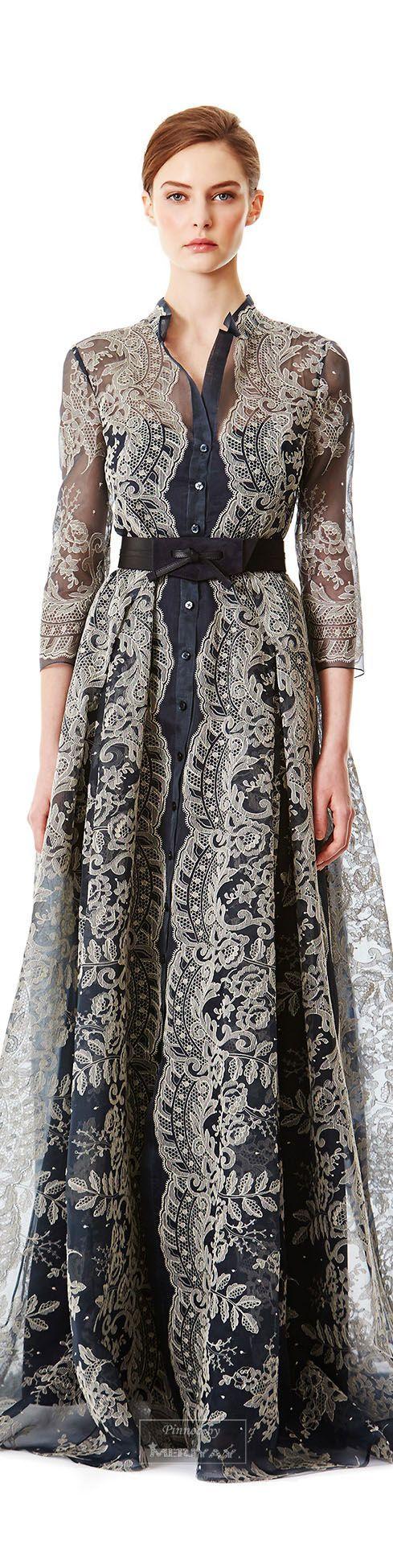 Carolina Herrera Pre-F15, arabian inspiration: I love this sheer lace maxi dress.