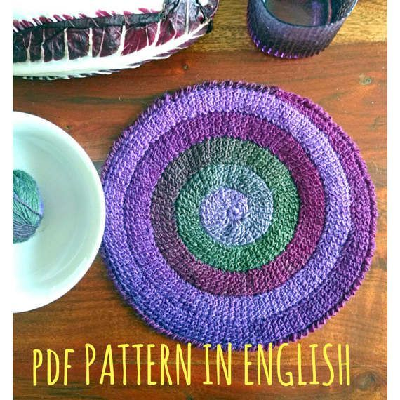 Crochet PATTERN spiral round placemat Tunisian stitch table decor purple violet green colours home design wool beautiful effect download