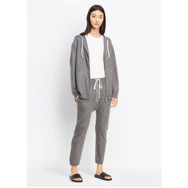 Vince Cashmere Cropped Slouch Jogger ($295) ❤ liked on Polyvore featuring pants, capris, cropped, natural, cashmere pants, cropped pants, white jogger pants, white crop pants and drawstring jogger pants