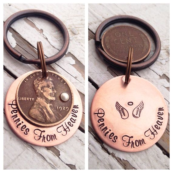 Pennies from heaven keychain hand stamped custom choose birthstone copper keyring initials names date year personalized Swarovski infinity