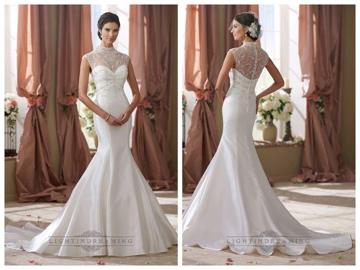 High Beaded Illusion Neckline Mermaid Wedding Dress http://www.ckdress.com/high-beaded-illusion-neckline-mermaid-wedding-  dress-p-435.html  #wedding #dresses #dress #lightindream #wed #clothing #gown   #weddingdresses #dressesonline #dressonline #bride