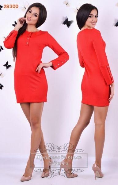 Стрейчевое облагеющее платье с длинным рукавом красное