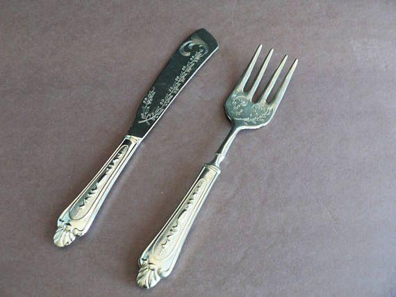 Vintage Silver Plated 800 Fish Serving Knife and Fork Set