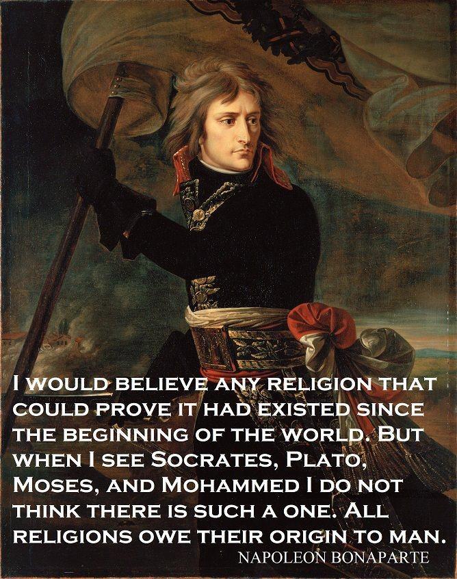 'all religions owe their origin to man'