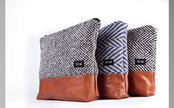 Light gray recycle wool clutch , pouch , purse