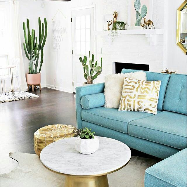 Loving the brassy tones mixed with the turquoise couch!   #Repost @abeautifulmess with @repostapp  Laura's den is the perfect mix of DIY modern and vintage.  See the full tour (before  after) via the link in our profile! @liketoknow.it.home http://liketk.it/2pdK2 #LTKhome
