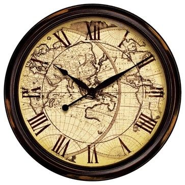 """Nautical Distressed Map 24"""" Wide Wall Clock - traditional - clocks - Lamps Plus"""