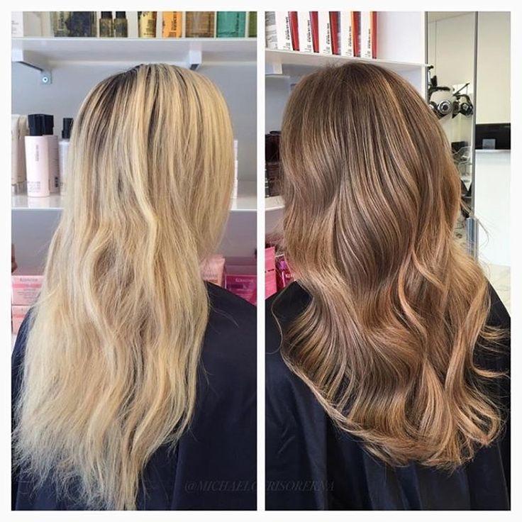 Kunden ville slippa utväxt i fortsättningen och få en hårfärg som passar till hösten, så vi blandar i flera olika bruna nyanser och sparar lite ljusare effekter i. #bronde #sombre #shinyhair
