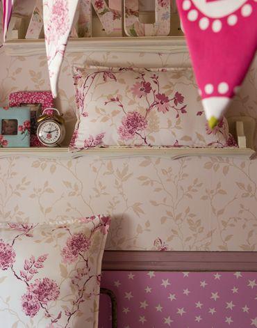 Papier peint CORALIE rose, ESTRELLA orchidée Heytens