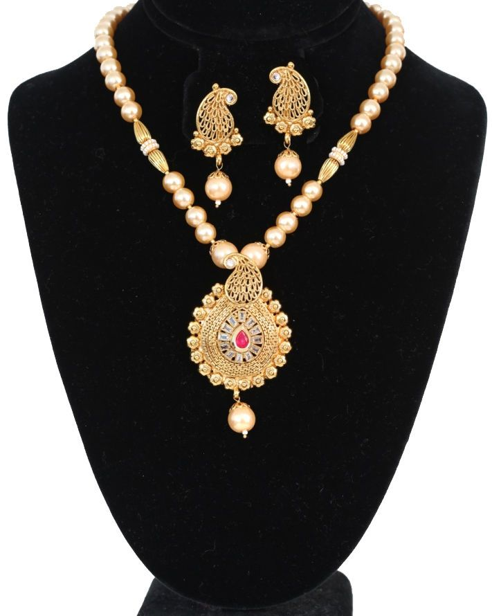 Hot Fashion Women Gold Plated Necklace Pendant with Earrings Jewelry from India