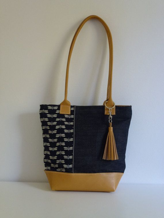 Handmade Cloth and Leather Tote  Small by JacquiInc on Etsy