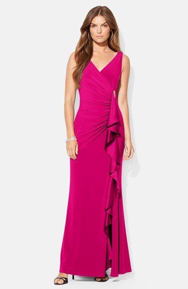 Lauren Ralph Lauren Silk Side Ruffle Jersey Gown available at #Nordstrom