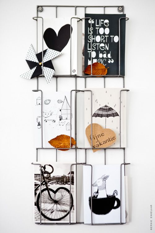 Magazine rack turned art display.