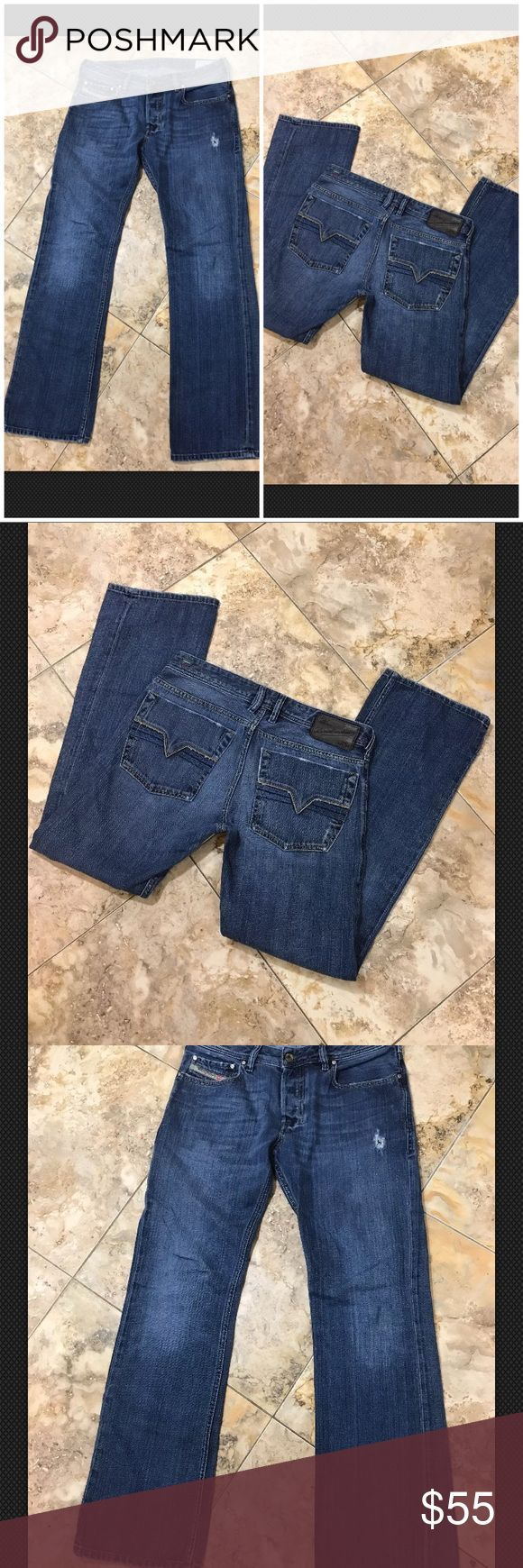 "Diesel zatiny mild bootcut men's jeans w 30 L 32 Diesel zatiny men's jeans size 30"" waist 32"" inseam made in Italy distressed medium blue jeans mild bootcut, I thought they were straight at first Diesel Jeans Bootcut"