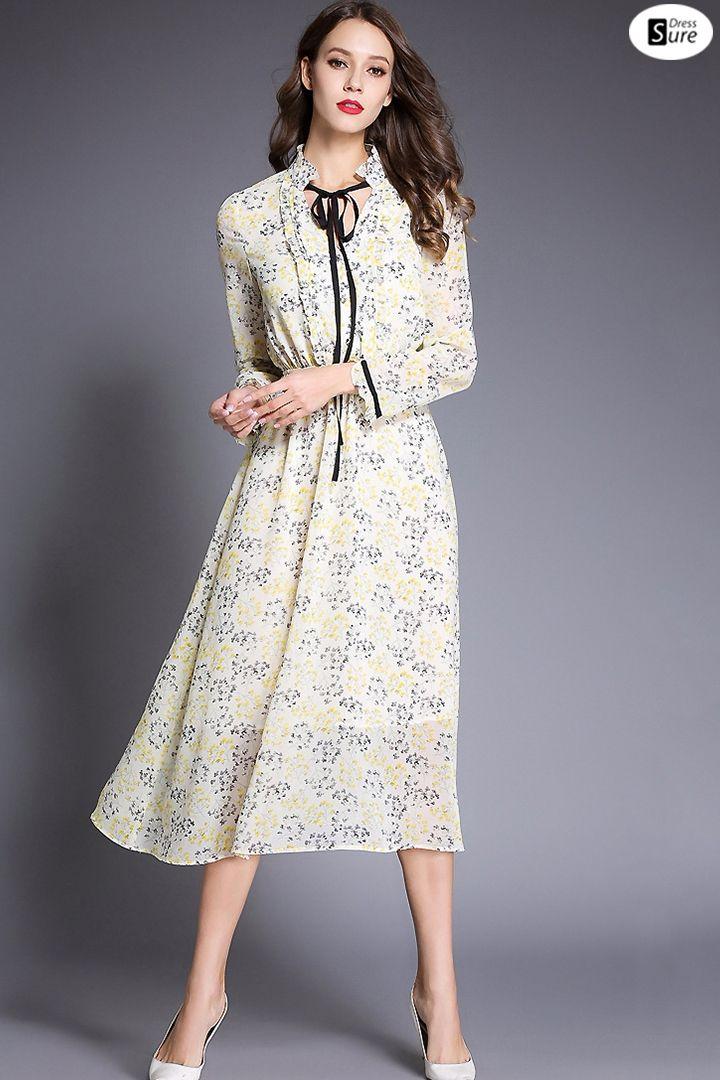 02fe92f9f35 Elegant V-Neck Long Sleeve Floral Print Skater Dress US  74.49 ...