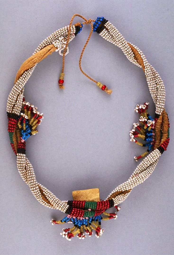 South Africa | Necklace from the Zulu people | Glass beads, metal and fiber | Collected by James Waldie, in South Africa between 1893 and 1902.
