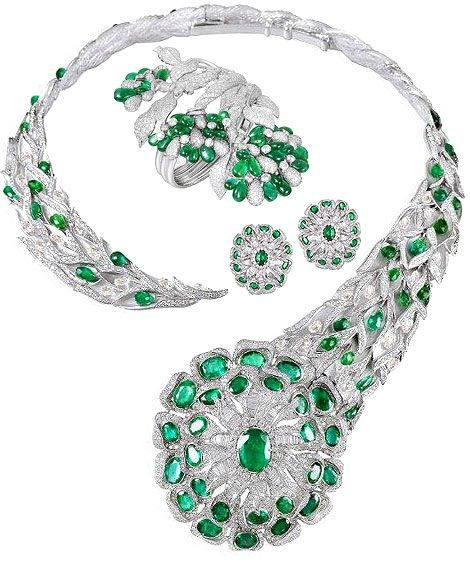 Emerald and diamond necklace and earrings