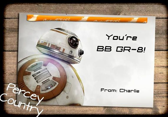 Fully Assembled Star Wars: The Last Jedi Valentines Day Photo Exchange Cards THESE CARDS ARE FULLY ASSEMBLED AND READY TO HAND OUT.   Please include the name you want printed on the cards with your order.  I can customize to your liking. Examples of printing include: From or