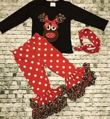 Reindeer Leopard Ruffle Outfit