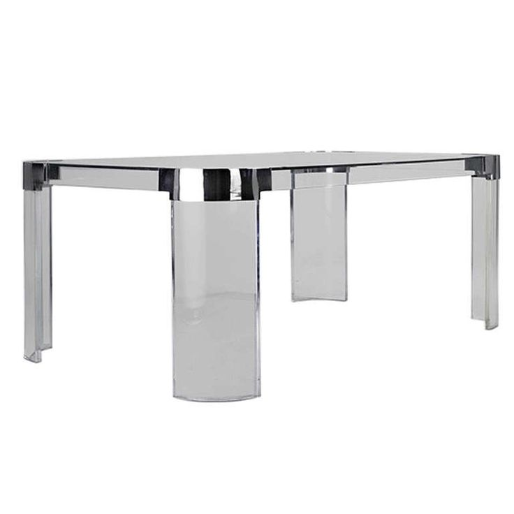 Lucite And Nickel Dining Table By Charles Hollis Jones From The Waterfall Line For
