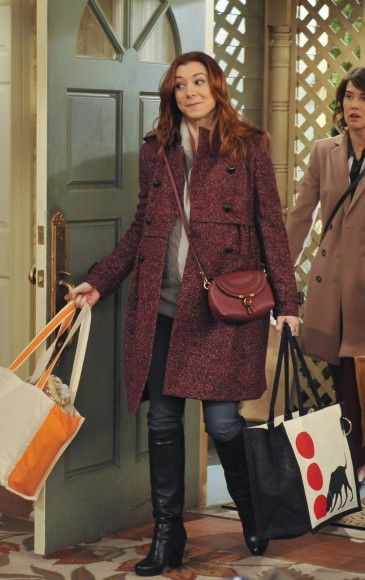 Lily's red tweed coat and crossbody bag