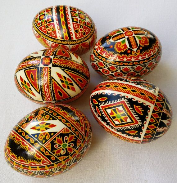 Set of 5 Real Ukrainian hand painted Pysanky Easter Eggs Ukraine Osterei Pysanka Pisanki egg shell