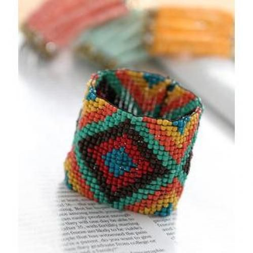 Patterned Beaded Bracelet One Size