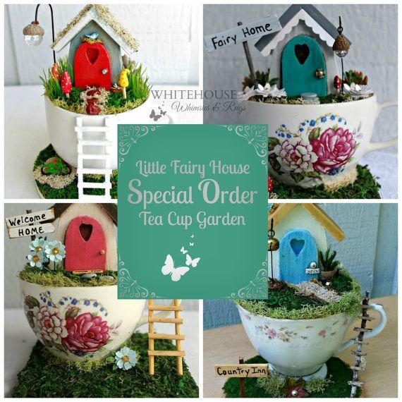 Tea Cup Fairy Garden House Custom Made/fairy garden teacup/desktop or office garden/mother daughter sister gift/Miniature Fairy Garden House