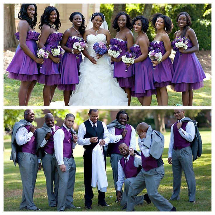 Wedding Party Color Ideas: Nigerian Wedding Bridesmaids & Groomsmen In Purple4