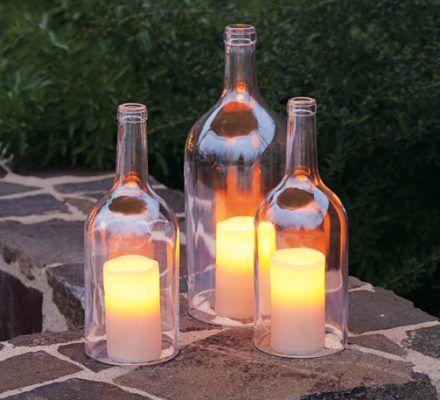 magnum vinflasker lavet til lanterner
