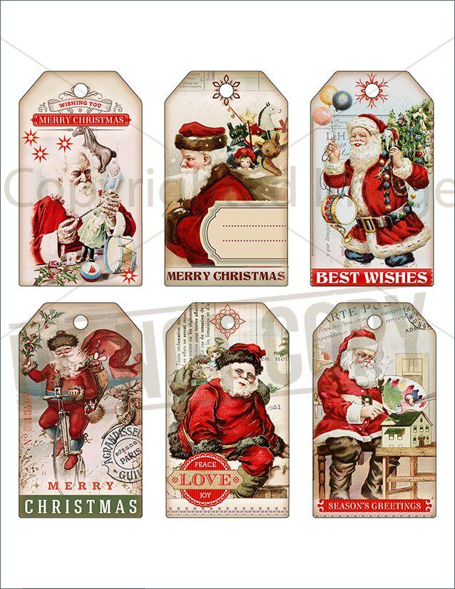 6 vintage victorian shabby santa christmas labels christmas gift