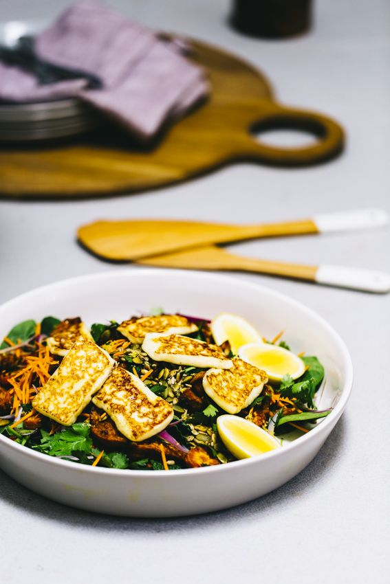 ROAST VEGETABLE SALAD WITH PAN FRIED HALOUMI AND TOASTED SEEDS — T.L.C.