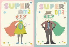 Een lief kaartje voor super oma en super opa
