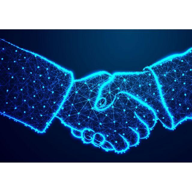 Hand Shake Abstract Low Poly Triangle Dot Line Shape Handshake