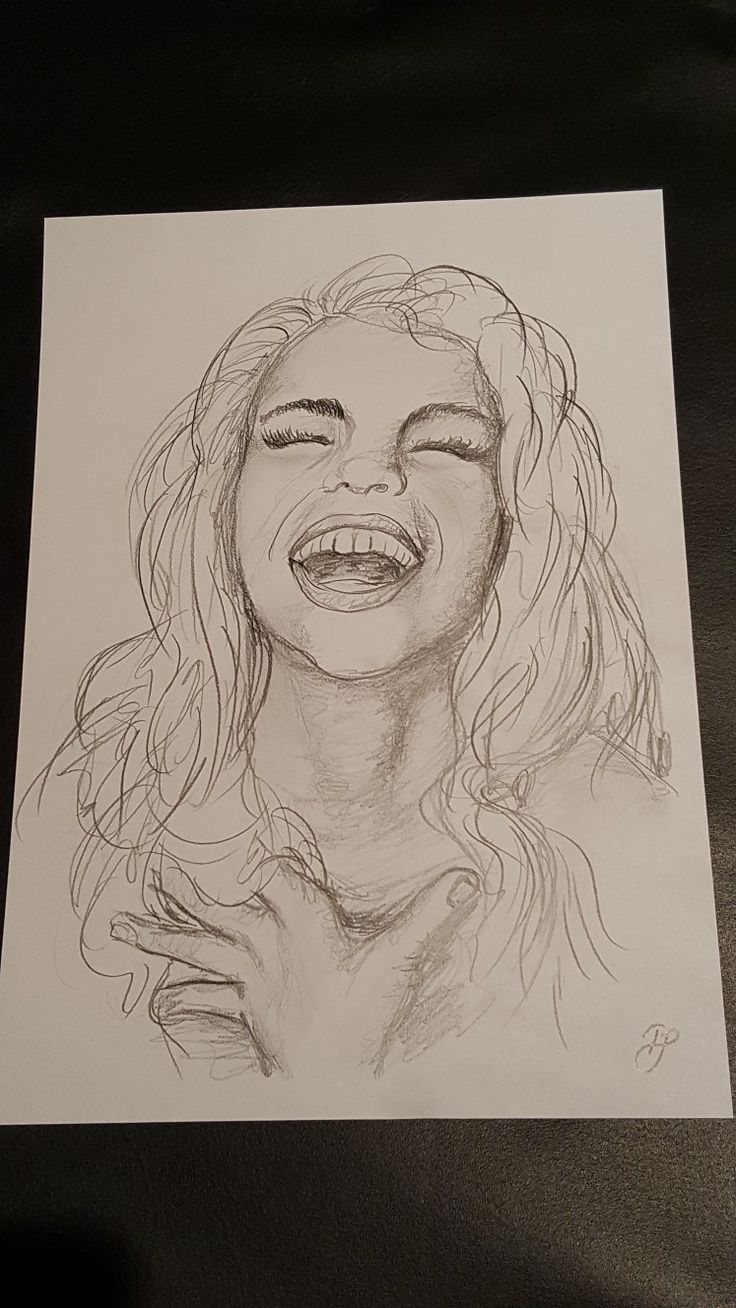 Lachen ist gesund! lachende Frau Mädchen Freude   Emma   Zeichnung auf DIN A4 Blatt  Lass die Zeichnung auf dich wirken und wenn sie dein Herz berüh…