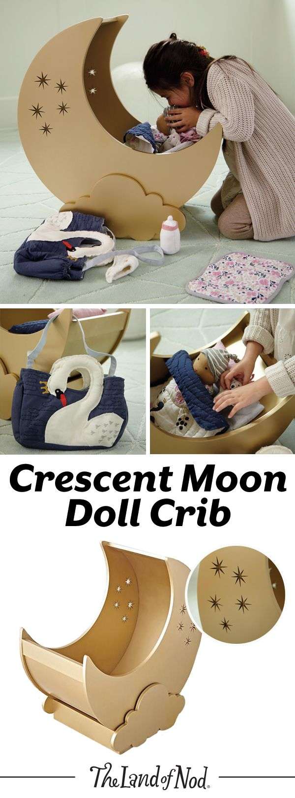 We have a feeling any doll will fall asleep on our Crescent Moon Doll Crib. The moon-shaped crib can rock gently back and forth and has plenty of space for your favorite doll bedding. Kids will love to add this unique piece to their toy collection.