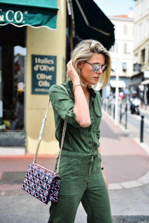simple // womenswear, womens style, green, jumpsuit, sunglasses