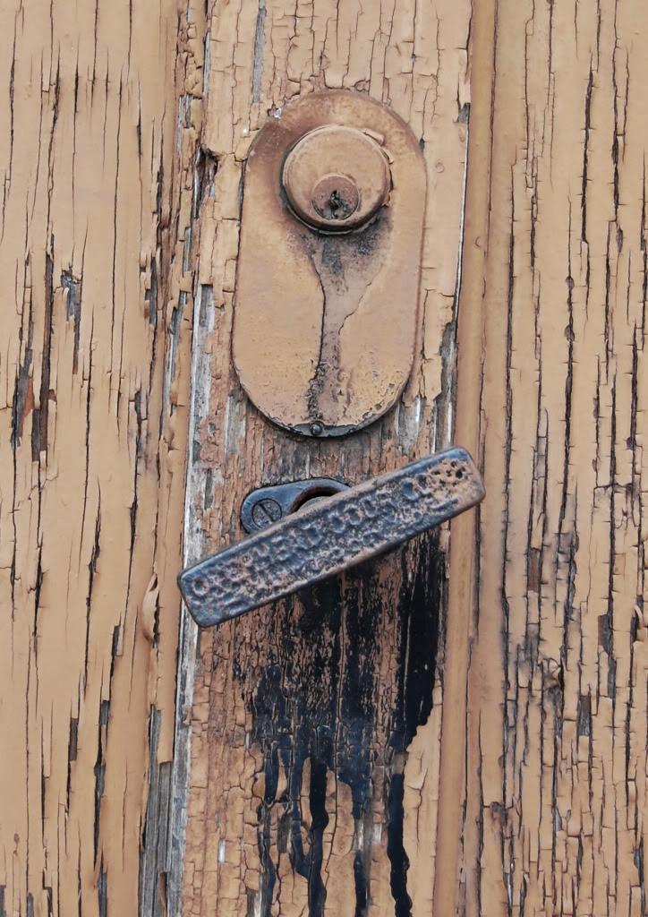 Weathered paint keyhole