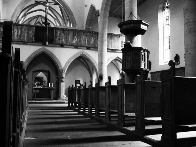 Small church Rothensburg Germany, Black and White