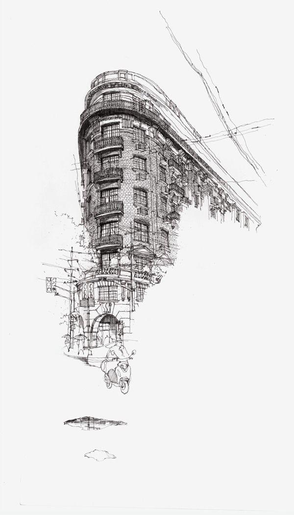 pen drawing by kang er, via Behance