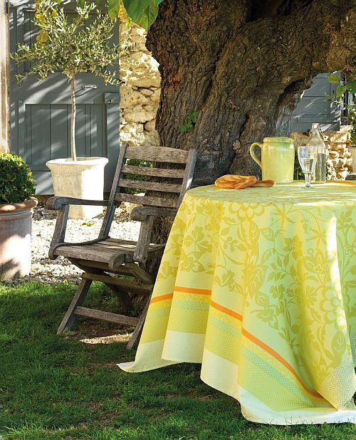 Le Jacquard Francais tablecloth called Provence, in Lemon-Green, perfect for a springtime soiree! www.rhballard.com