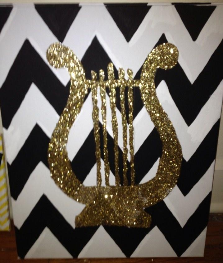 Glitter Lyre on chevron canvas