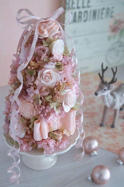 ケーキスタンド付★ピンクのリボンフラワーツリー